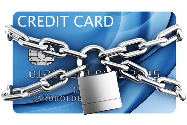 Credit card image showing password protected